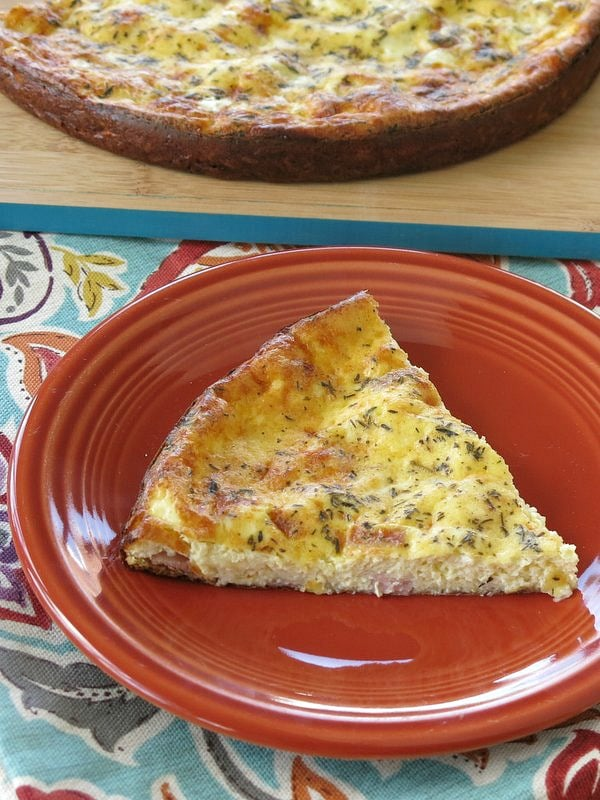 Ham and Cheese Crustless Quiche on a plate