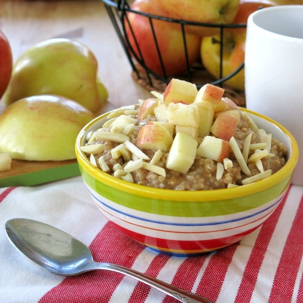 Slow Cooker Cinnamon and Apple Steel Cut Oatmeal