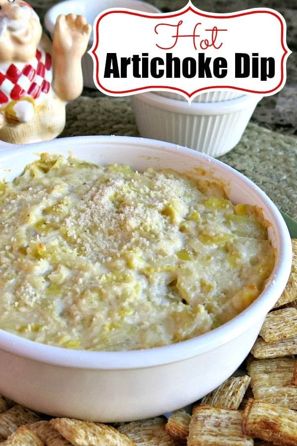 Hot Artichoke Dip can also be served cold or any temperature in between making it the perfect party dip! It's low-carb, gluten-free and indulgent all at the same time depending upon what type of dippers you use! #artichokedip #appetizer #dip