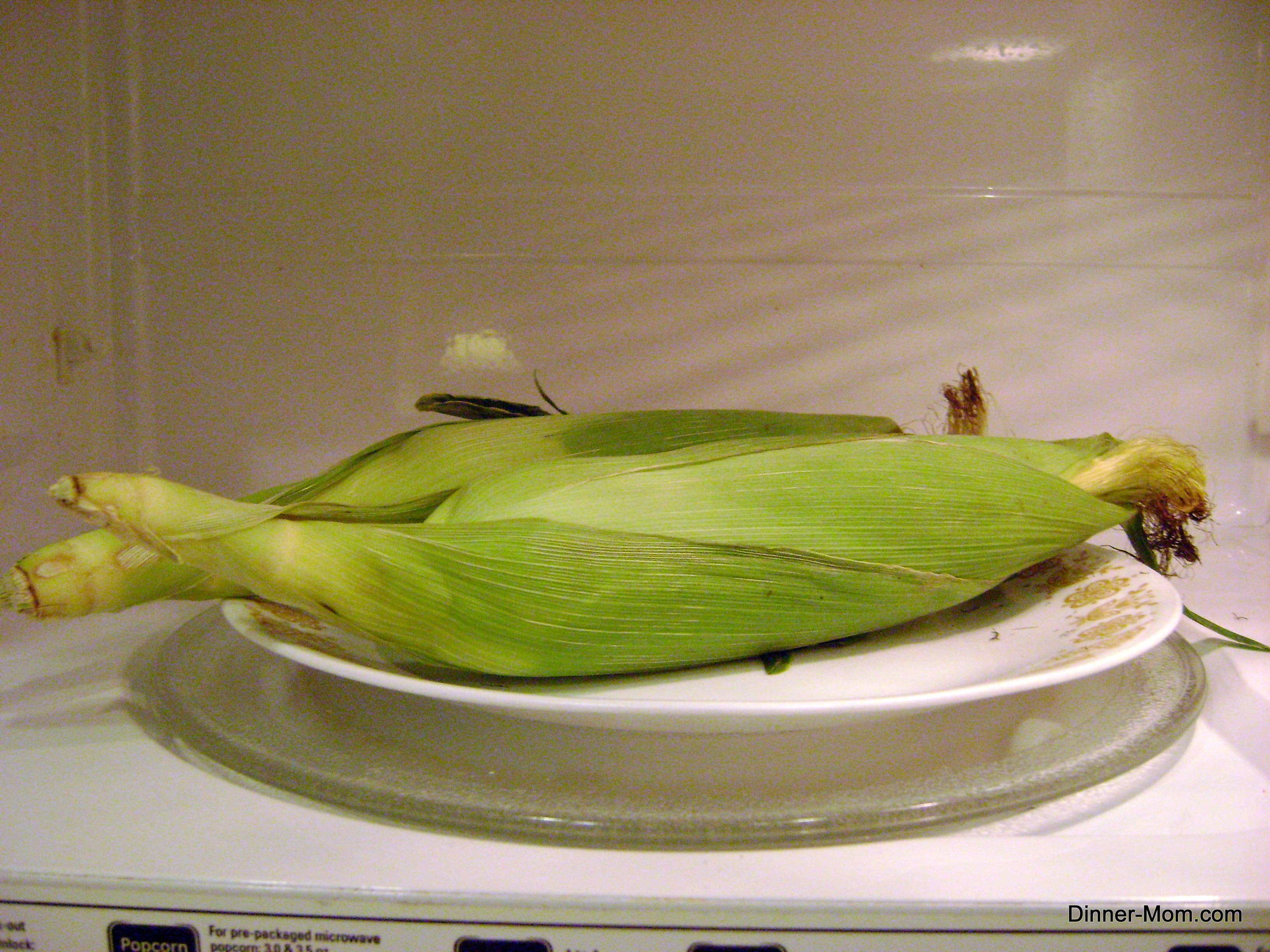 Corn on the cob in husk on plate in microwave.