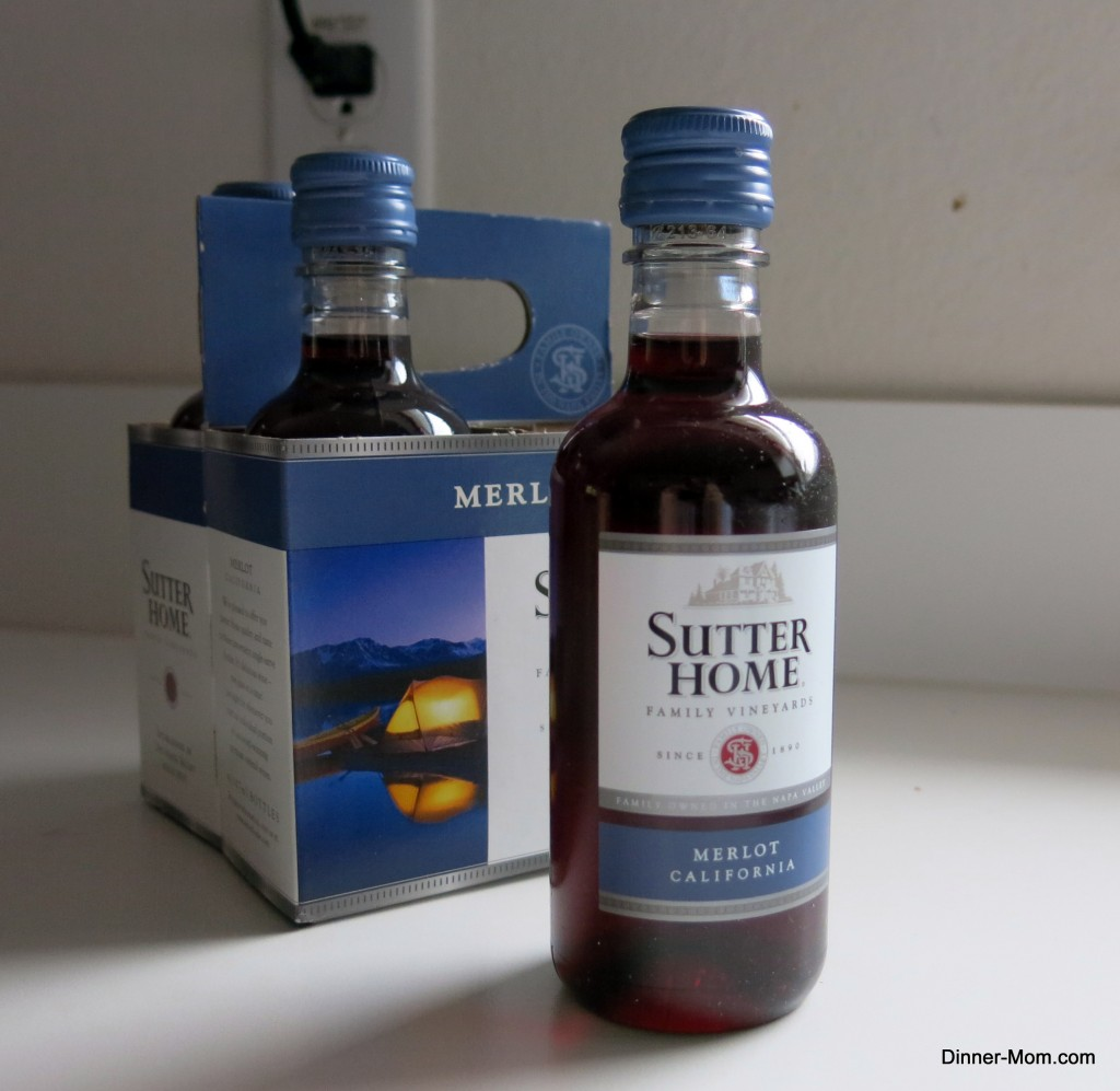 Small bottle of Merlot wine