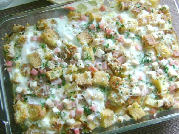 monte cristo breakfast casserole recipe in baking dish