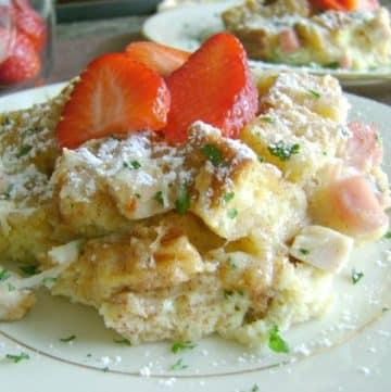 monte cristo casserole on plate