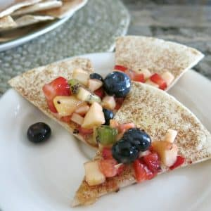 Fruit Salsa and Cinnamon Chips on plate