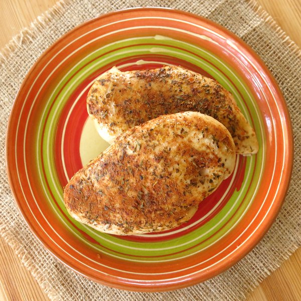 Overhead shot of of 2 Baked Blackened Chicken Breasts on a plate
