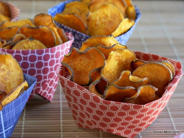 Sweet Potato Chips in a paper container