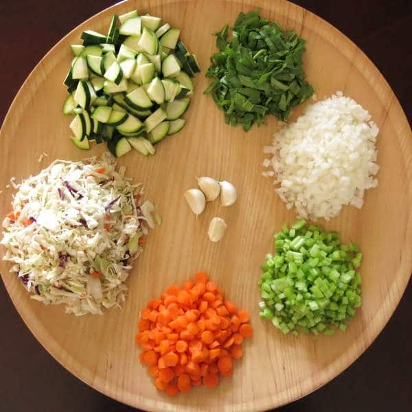 Homemade Vegetable Soup Ingredients on a plate