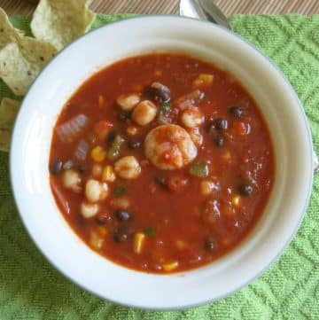 Shrimp tortilla soup in bowl