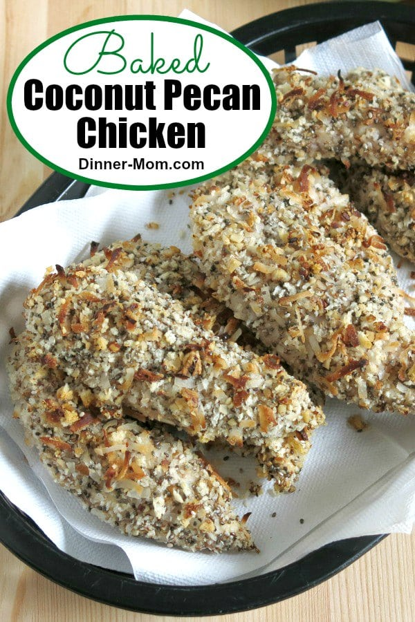 Baked Coconut Pecan Chicken is a kid-friendly dinner with a nutty topping adults love too! Popular recipe from our Make Ahead Meal store that uses our no-mess prep process. #coconutchicken #dinnerrecipe