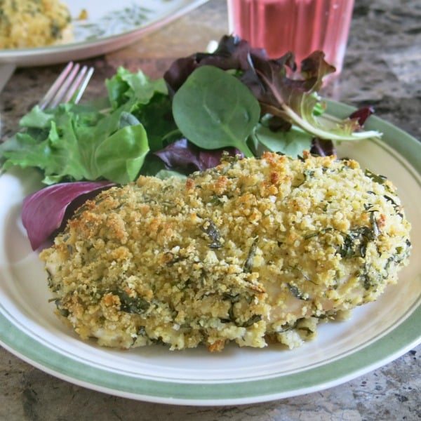 Herb Crusted Chicken on a plate