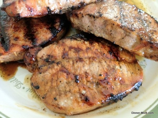 Plate with Molasses Marinade on Grilled Pork Chops
