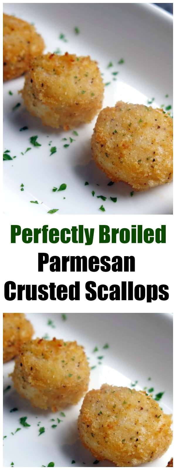 It's Easy to Perfectly Broil these Parmesan Crusted Scallops! A favorite healthy recipe from our make ahead meal assembly store that is perfect as an appetizer or a special dinner.