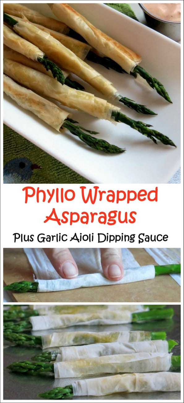 Phyllo Wrapped Asparagus with Garlic Aioli Dipping Sauce