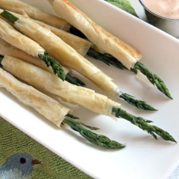 Phyllo wrapped asparagus on platter