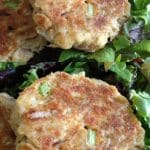 Maryland Style crab cakes on salad greens