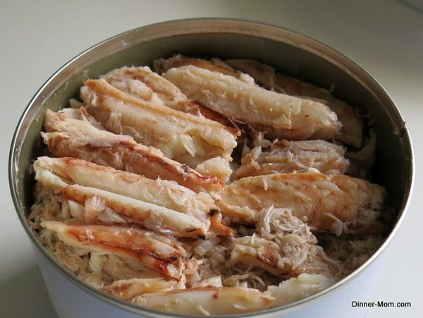 Lump crab meat in a tin