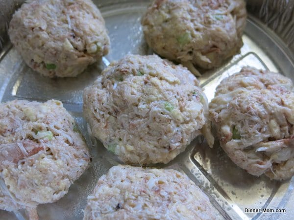 Formed Crab Cakes in an aluminum tin Ready to Cook