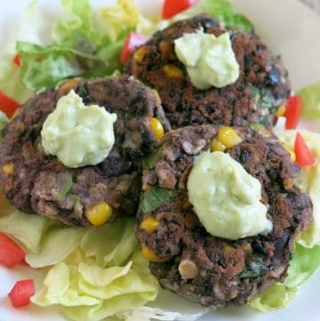 Black Bean Cakes and Avocado Cream