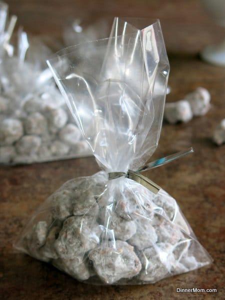 Poppy Chow Popcorn Snack in a bag with a twisty tie