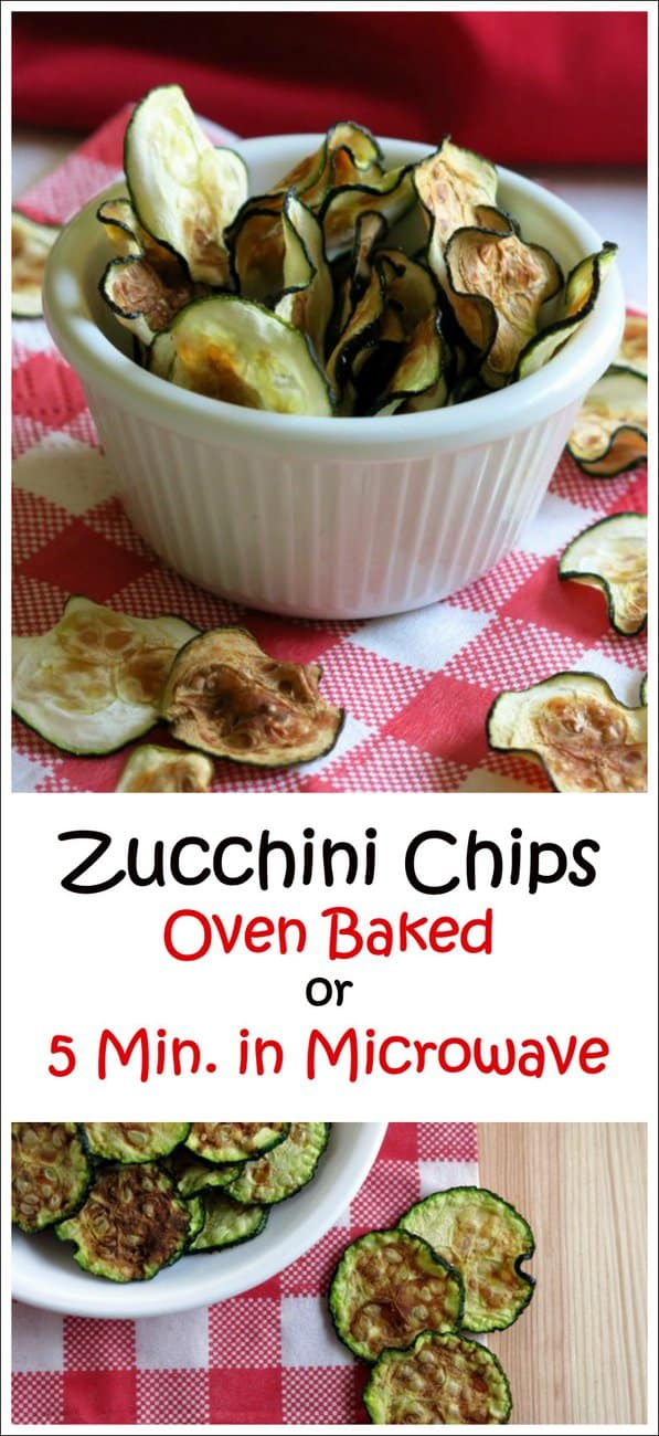 Zucchini Chips in Microwave or Oven Baked