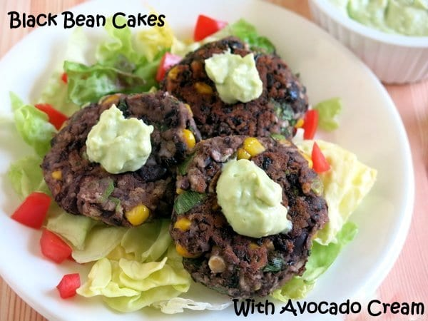 Black Bean Cakes with Avocado Cream