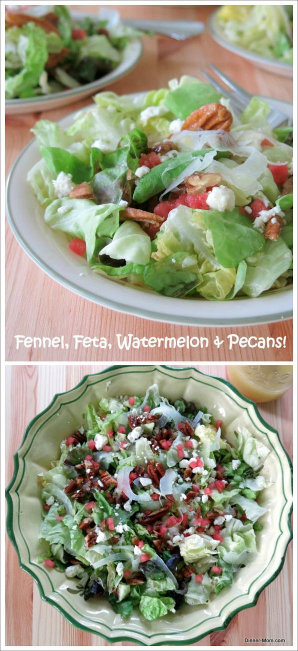 Fancy Salad with Fennel, Feta, Pecans and Watermelon