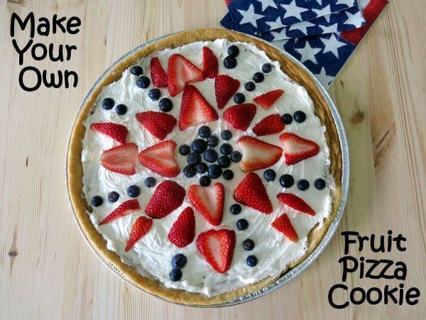 overhead view of Fruit Pizza Cookie topped with strawberries and blueberries