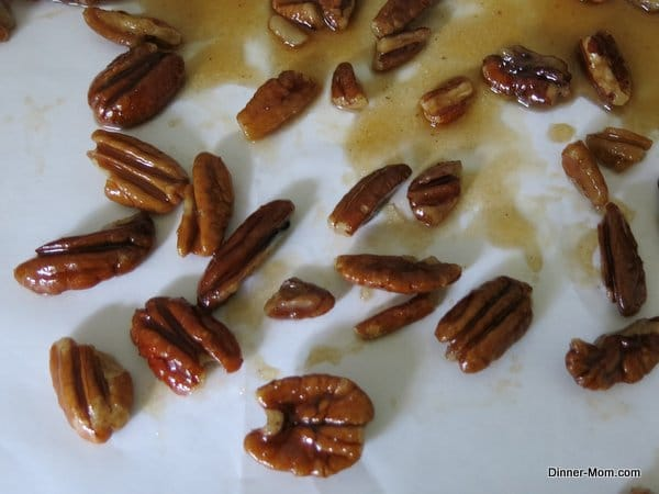 Candied Pecans on parchment paper