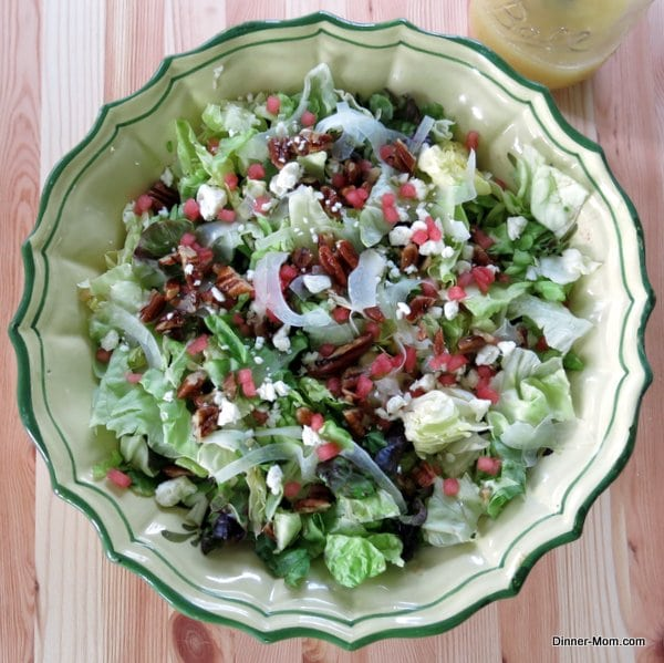 Big bowl of Fancy Salad with fennel watermelon feta and candied pecans