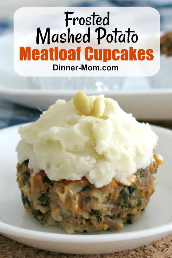 Meatloaf cupcake with mashed potato frosting on a plate