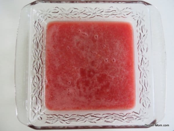 watermelon granita puree in glass baking dish