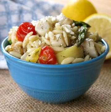Warm Orzo Pasta Salad with Scallops and Artichokes