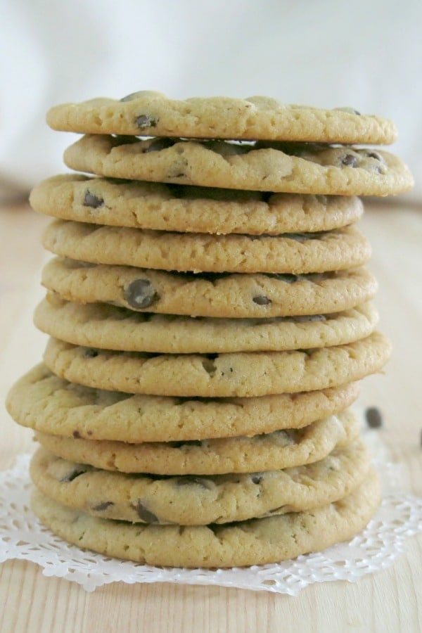 best vegan chocolate chip cookies stacked on plate
