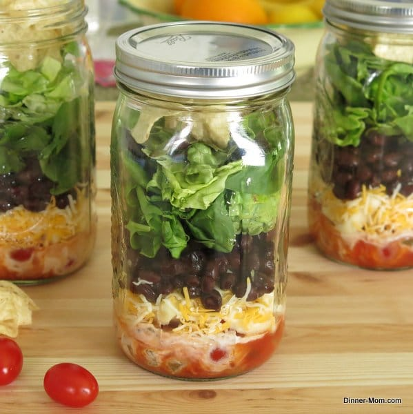 Layered Taco Salad in a mason jar plus tips to pack any salad