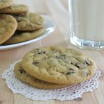 2 vegan chocolate chip cookies on doily