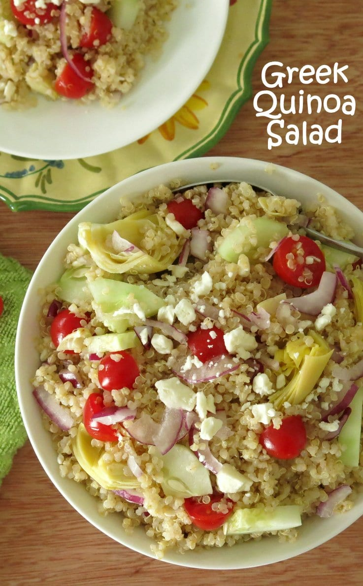 This easy Greek quinoa salad is loaded with vegetables and feta cheese ...
