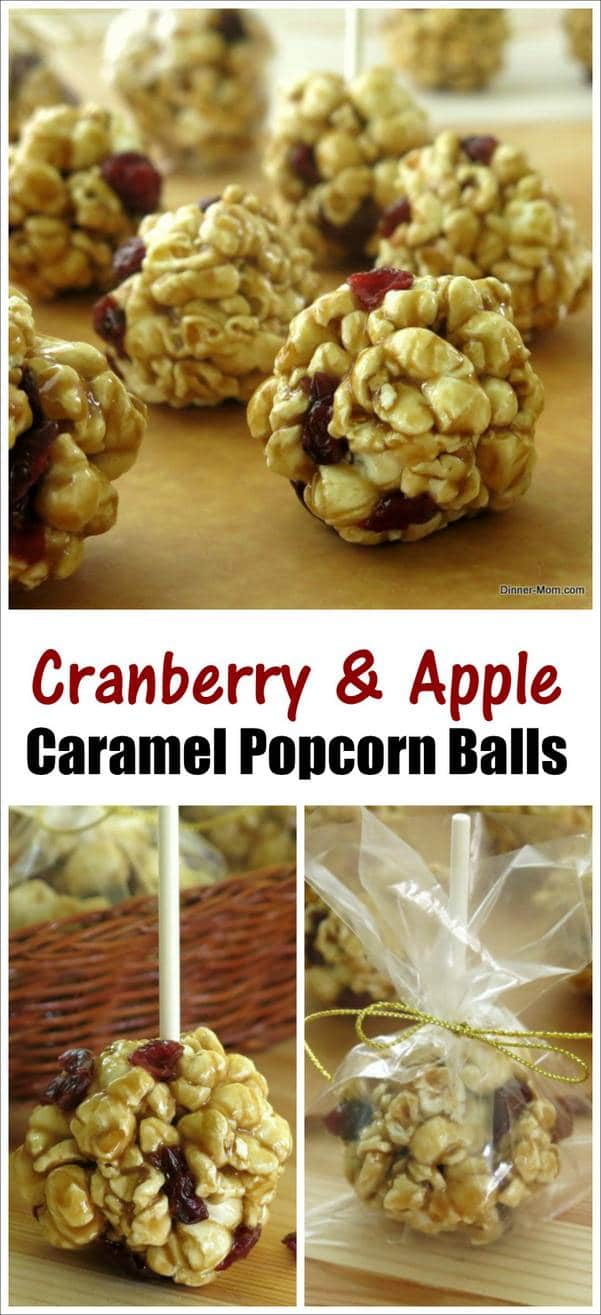 Caramel Popcorn Balls with Cranberry and Apple - Easy Recipe