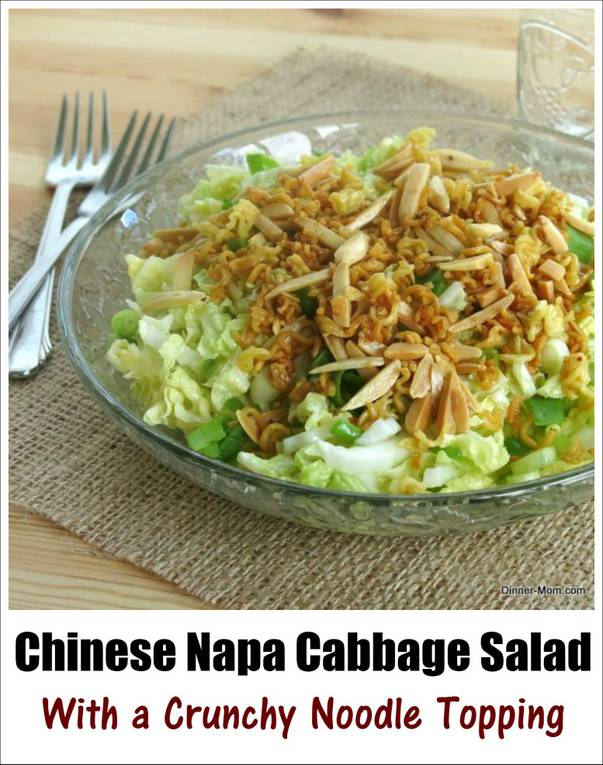 Chinese Napa Cabbage Salad Recipe with a Crunchy Noodle and Almond Topping