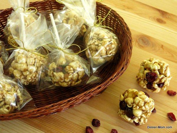 Cranberry Apple Caramel Popcorn Balls