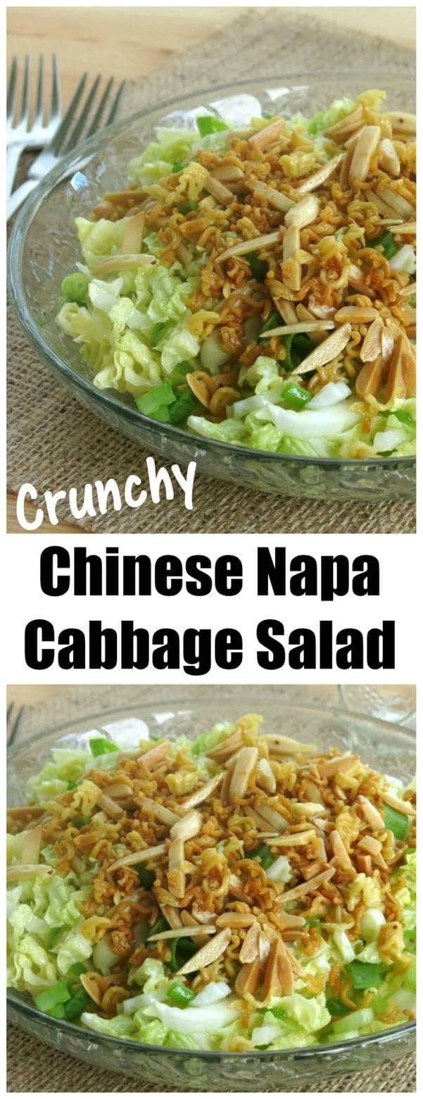 two bowls of chinese napa cabbage salad with name of recipe in between