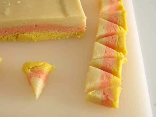 Cutting Layers to make Candy Corn Sugar Cookies