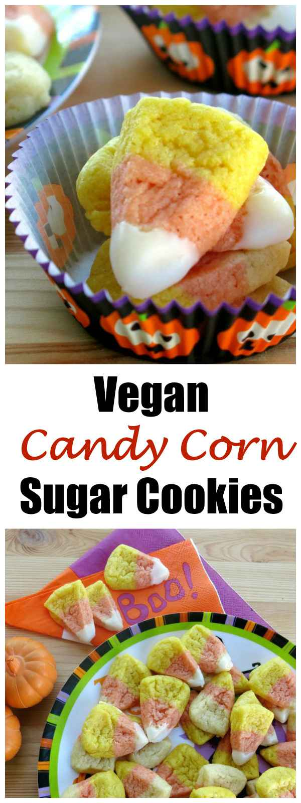 Easy Vegan Candy Corn Sugar Cookies Recipe
