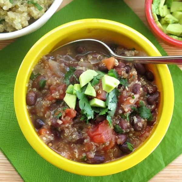 Mexican Black Bean Quinoa Soup Recipe topped with cilantro and avocado