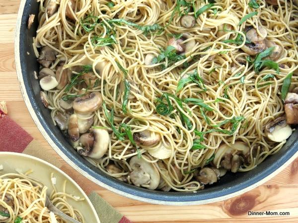 Skillet with mushroom olive oil pasta