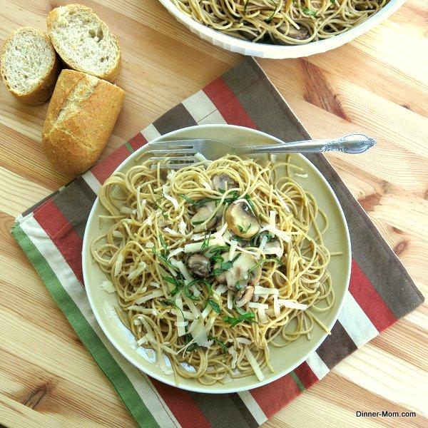 Mushroom basil pasta on a plate
