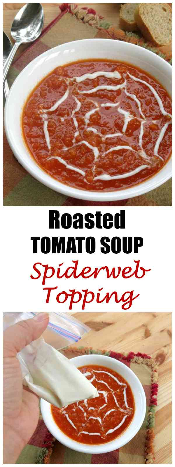 Roasted Tomato Soup Spiderweb Topping Recipe