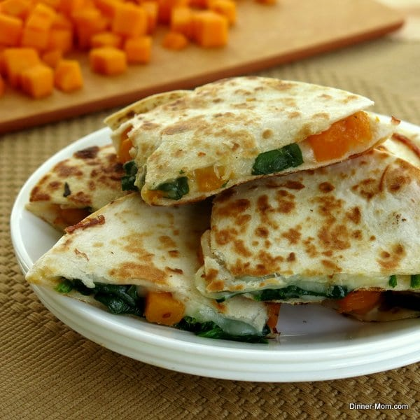 Butternut Squash and Spinach Quesadillas