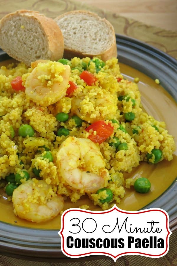 Couscous Shrimp Paella takes 30 minutes and one pan! It's the perfect weeknight meal that just happens to be fancy enough for a special dinner! #couscous #easydinner