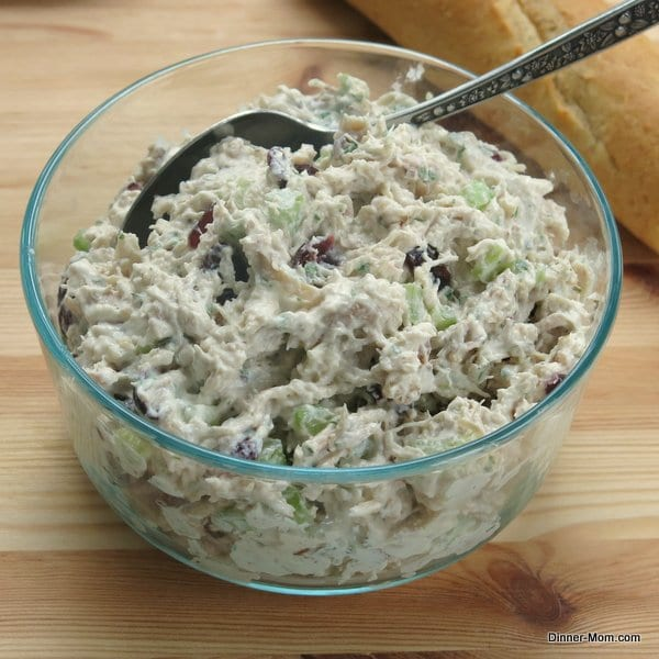 Creamy Tarragon Chicken Salad in a serving bowl with spoon