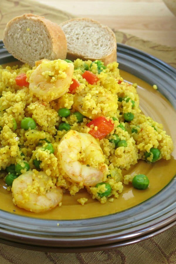Easy Shrimp Couscous Paella mounded on plate